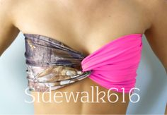 Real Tree Camo and Hot Pink Bandeau Top Spandex by Sidewalk616, $27.00