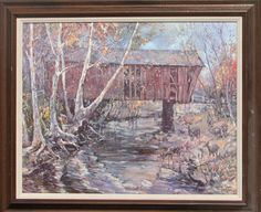 "Leslie Cope Covered Bridge Countersigned Print, signed and countersigned Leslie Cope, 1987, print is in excellent condition, 19.5"" x 15.75"", frame is wood and in good condition, 24"" x 20""."