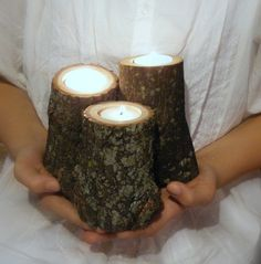 """Set of 3 Rustic Log Tealight Candle Holders - Perfect for Rustic, Country or Woodland Themed Events Approx Measurements: 3"""" - 5"""" height 3-4"""" diameter (Photo props not included) Looking to add some tex"""