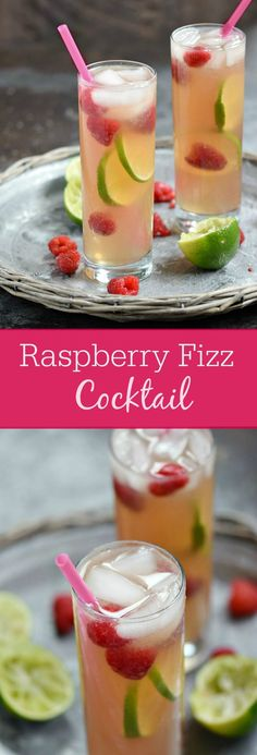 A light and refreshing Raspberry Fizz Cocktail is the perfect way to cool off on a hot summer night, and it's guaranteed to become a favorite | cookingwithcurls.com