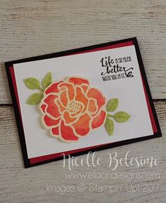 Floral any occasion card made with Brusho Crystal Colour and Beautiful Day and Petal Palette Stamp Sets from Stampin' Up! nicollebelesimo.stampinup.net