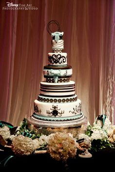 Black and turquoise Disney wedding cake/ Disney Fairytale Weddings