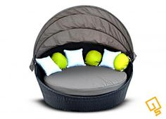 iS Round Wicker Outdoor Furniture Day Bed - Brown with Brown Cushion : INNOVATION SQUARE