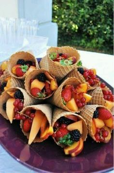 Fruit in ice cream cones for an #oscars party