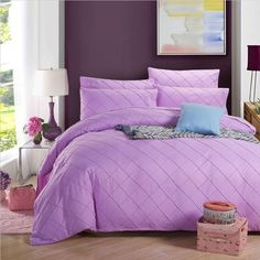 Elegant Solid Color Pinch Pleated Luxury Full Size 4 PC Bedding Set 6 Colors
