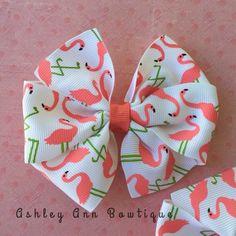 Flamingo Pinwheel Hair Bow Summer Hair Bow by AshleyAnnBowtique