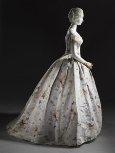Beautiful floral/butterfly evening gown c. 1865, from the LACMA collections.