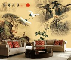 Egrets Dancing above Moutains Chinese Style Wall Mural by #Onlymurals