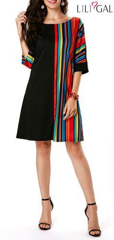 Rainbow Stripe Print T Shirt Dress Round Neck Three Quarter Sleeve Black Tunic Dress Black Tunic Dress, Black Dress With Sleeves, Belted Dress, Striped Dress, Bodycon Dress, Tight Dresses, Sexy Dresses, Casual Dresses, Short Sleeve Dresses