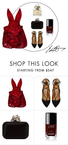 """""""~Red Dresses~"""" by ivana-andrejic ❤ liked on Polyvore featuring Marchesa, Aquazzura, Jimmy Choo, Chanel, Marc Jacobs and reddress"""