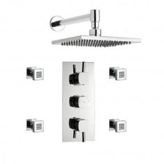 Kia Chrome Thermostatic 2 Way Shower Faucet  Square Fixed Head, 4 Square Body Jets