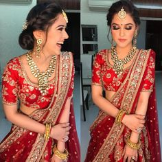Updos❤️ Happy girls are the prettiest ❤️ Indian Wedding Lehenga, Indian Wedding Makeup, Indian Bridal Outfits, Indian Wedding Hairstyles, Indian Bridal Fashion, Bridal Lehenga Choli, Indian Dresses, Bridal Dresses, Indian Bride Hair