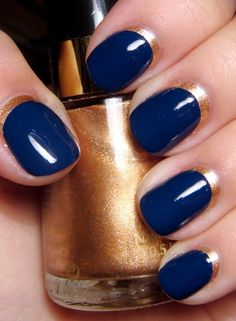 Nail paints / gold and navy