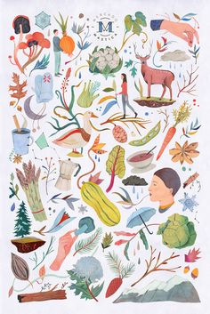Seasonal illustrations I developed for Mercado Mastica, a food market in the streets of Santiago, Chile.