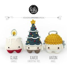 4 seasons: CHRISTMAS Xmas (candle, christmas tree, angel) • lalylala crochet…