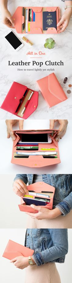 Oh my! This travel must-have is definitely going on my wishlist! The cute All-in-One Leather Pop Clutch is the new way to travel simply! It has plenty of pockets and space for my cards, cash, and coin