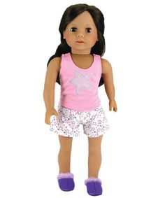 7c15a9f31e Set Fits 18 Inch American Girl Dolls   More! (Doll Shoes sold separately)  Stars Doll PJ s Tank Top   Shorts Set  Cute star pajamas fits most 18 inch  dolls.