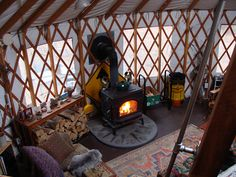 the heat from the stove rises intot he loft. Also you can get a special hole put in the side right by the wood pile to quickly load wood into the yurt. a woo stove is a must!!