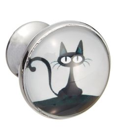 Look at this #zulilyfind! Black Cat on White Glass Knobs - Set of Four by Shabby Restore #zulilyfinds