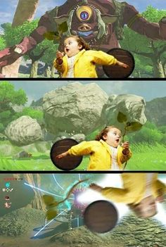*trumpets blare loudly while Hinox appears* *drums start booming as Talus rises from the ground* *dramatic piano solo begins as Guardian walks around the corner*