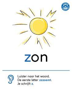 De klank van de letter -z- is bijna hetzelfde als de klank van de letter -s-. De woorden met een z moet je dus goed uit je hoofd leren. Spreek je zulke woorden goed uit, dan kun je het ook horen. De letter -z- zzzzooemt namelijk. De overzichtskaart kan je daarbij helpen. Door het voorbeeld kun je de letter z nog beter onthouden! Meer van dit soort voorbeelden kun je vinden op www.taal-oefenen.nl Dutch Words, Dutch Language, School Posters, Home Schooling, Child Development, Grammar, Circuit, Einstein, Classroom