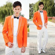 4 Piece Orange Slim Fit Hipster Fashion Prom Casual Dress Suits Men SKU-123442