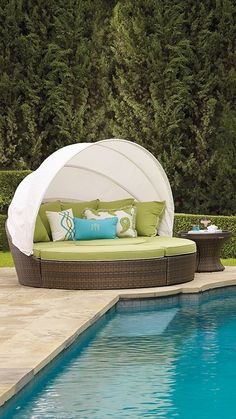 With 231 cu. ft. of space, our versatile, all-weather Baleares daybed serves as a private lounger or seating for six.