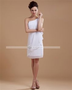 Amylinda™ Charming Chiffon Beading One Shoulder Short Bridal Gown Wedding Dress