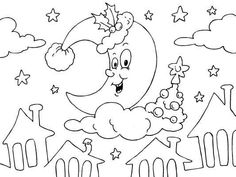 Christmas Moon coloring page - Coloring Pages 4 U Unique Christmas Cards, Christmas Messages, Christmas Night, Christmas Colors, Moon Coloring Pages, Free Christmas Coloring Pages, Barn, Holiday, Colors