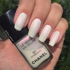 Long Square Tip Nails with Chanel Le Vernis Nail Colour Intermezzo 501. Beautiful iridescent white. Elegant. #nail #nailart