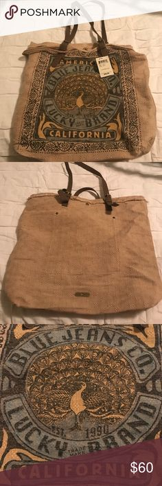 Lucky Brand California Tote Canvas like Tote. Leather straps. Brushed metal hardware. One inside pocket. Lucky Brand Bags Totes