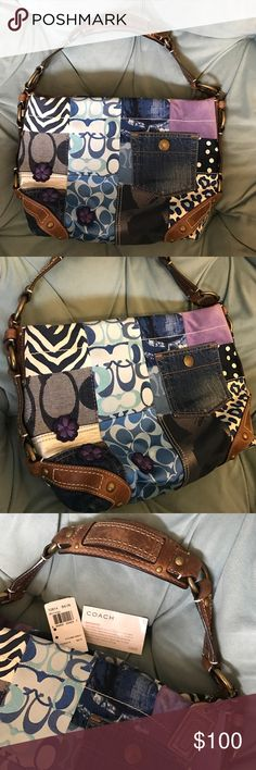 Authentic Coach patchwork vintage purse Excellent overall condition! This GORGEOUS authentic coach is a patchwork design with satin, denim, canvas type material, suede/leather. Shades of blue and purple with silver and white. Accented with purple flower appliqué! Brown leather along the corners, sides, handle with antique gold color hardware. Comes with original tags! Super clean 😁 mild wear marks/scuffing on the brown leather strap. Bottom and corners very clean and pristine! See all…