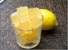 Lemon Vanilla Jello Cup- the natural gelatin is awesome for hair nails and skin among many other things