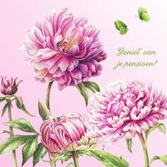 Kaart met bloemen en tekst 'Geniet van je pensioen-Janneke Brinkman