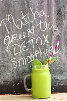Matcha Green Tea Detox Smoothie 1.5 cups almond milk 2 cups loosely packed spinach 1/2 an avocado 2 tsp matcha green tea powder (found at any health food store) 1 cup ice raw honey or agave nectar to taste