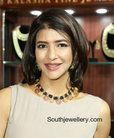 Lakshmi Manchu in a black dori necklace - Indian Jewellery Designs Gold Mangalsutra Designs, Gold Earrings Designs, Gold Jewellery Design, Gold Designs, Gold Jewelry, Half Saree Designs, Bridal Blouse Designs, Thread Jewellery, Black Thread