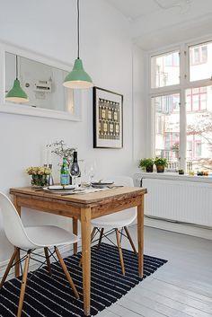 dining: mint green pendant lamp, white + wood