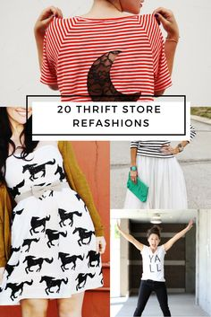 20 Thrift Store Clothes Refashion DIYs - Maker Mama Love thrifting and sewing? These 20 thrift store clothes refashion DIYs are the perfect blend of handmade and thrift store style. Thrift Store Diy Clothes, Thrift Store Refashion, Thrift Stores, Refashion Dress, Diy Clothes Refashion, Sweater Refashion, Upcycled Crafts, Upcycled Clothing, Diy Crafts