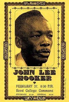 John Lee Hooker - 1970 - Reed College - Concert Poster