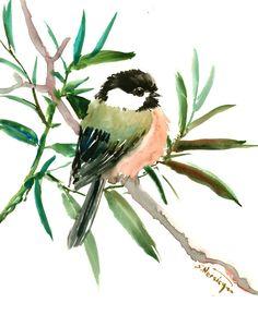 chickadee artwork, bird art watercolor painting, bird art, bird painting, original, watercolor, chickadee by ORIGINALONLY on Etsy