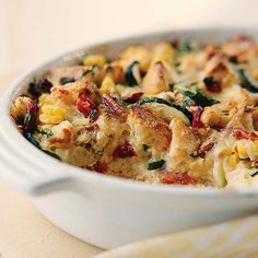 Zucchini and Cheese Casserole: Perfect for a summer brunch, lunch or dinner. Walnuts, corn, sweet pepper, herbs and of course..zucchini!
