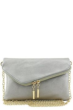 Envelope Wristlet Clutch Crossbody Bag with Chain Strap (Light Pewter) - http://leather-handbags-shop.com/envelope-wristlet-clutch-crossbody-bag-with-chain-strap-light-pewter/