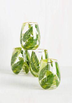 palm leaf stemless wine glasses.