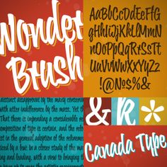 Wonder Brush appears to be a straightforward narrow upright brush script. But it really is made of malleable rubber. Take it into a program like Adobe Illustrator, set something, stretch or squeeze, shear or warp, slant or transform… just play with it like they used to do in the 70s and 80s. You will soon discover that this font really is a big old top hat, and it's up to you and your mischief to pull rabbits or geese out of it. Poster Fonts, Posters, Brush Script, Typography, Lettering, Autumnal, Rabbits, Adobe Illustrator, Vans