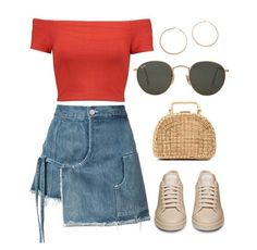 New sneakers outfit skirt dresses crop tops ideas Pretty Outfits, Cool Outfits, Casual Outfits, Summer Outfits, Red Outfits, Crop Top Dress, Dress Skirt, Teen Fashion, Fashion Outfits