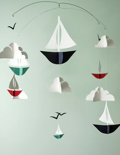 Customized Nautical Sailboats Paper Mobile by HUSHandHONEY on Etsy
