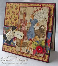 great page idea for heritage ladie's fashions...Graphic 45 Domestic Goddess, discontinued paper (sob).