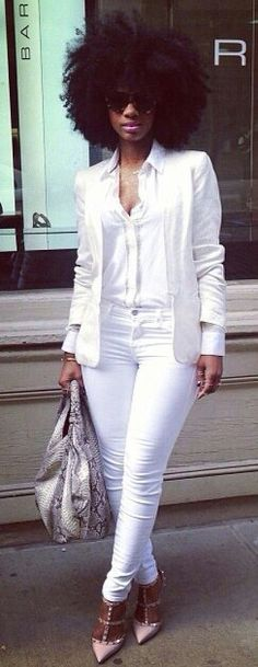 All white women's outfit