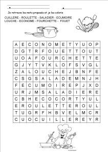 mots meles ustensiles av coloriage French Language Learning, Word Games, Alphabet, Teaching, Education, Blog, Table, French Tips, Puns