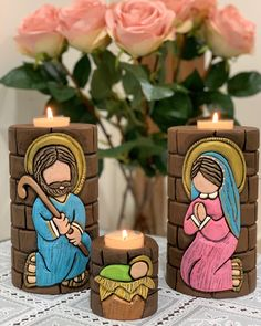 Christmas Nativity, Christmas Crafts, Christmas Decorations, Xmas, Diy Home Crafts, Easy Crafts, Custom Candles, Candels, Holy Family